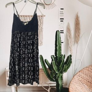 beach by exit black crochet boho Aztec print dress